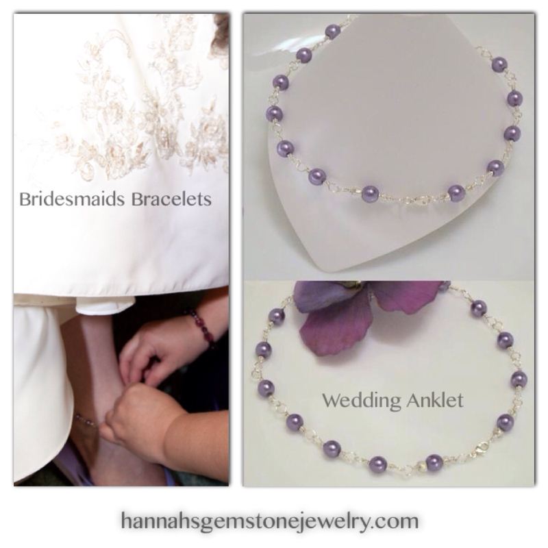 Custom glass pearl wedding anklet by Hannah's Gemstone Jewelry