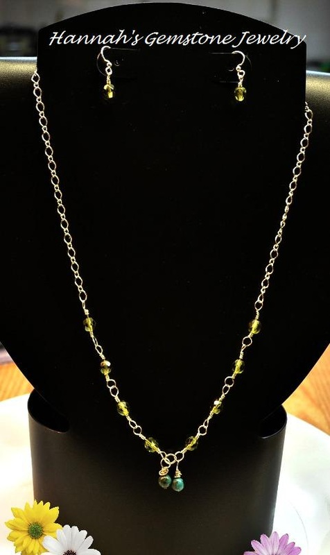 Lime Green Faceted Czech Glass and Turquoise Long Chain Necklace with Free Earrings