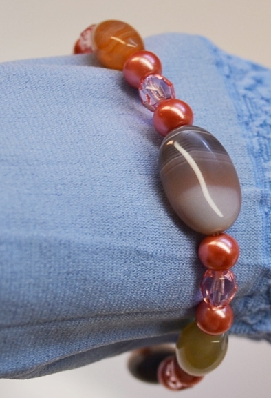Botswana Agate and Czech Glass Stretch Bracelet