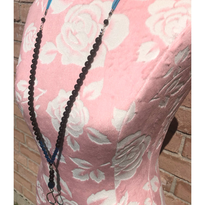 Gemstone Lanyard necklace-blue-Hannahs Gemstone Jewelry