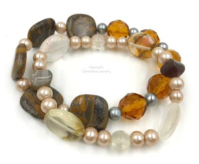 beaded stretch bracelets-brown tones